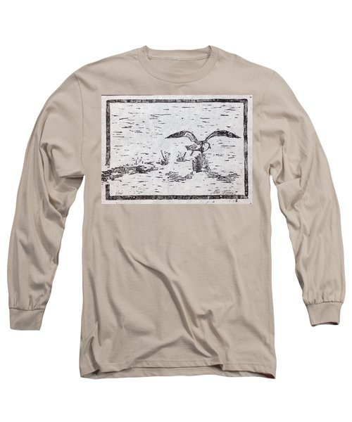 Departure Woodcut  Long Sleeve T-Shirt by Stan Tenney