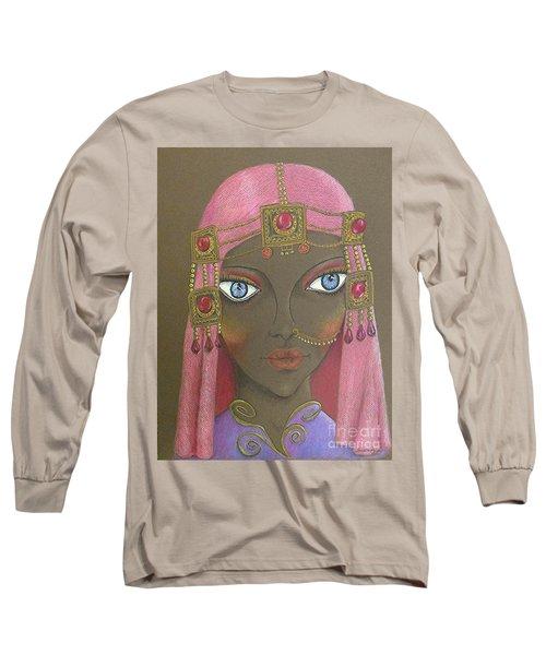 Desert Diva -- Whimsical Arabic Woman Long Sleeve T-Shirt