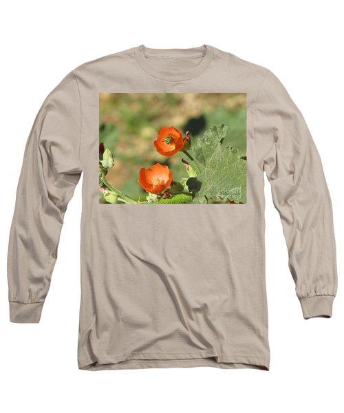 Desert Globemallow Blooms 227 Long Sleeve T-Shirt by En-Chuen Soo