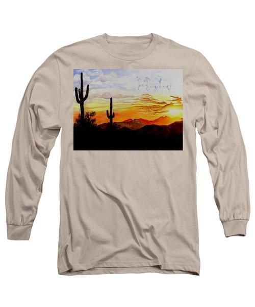 Desert Mustangs Long Sleeve T-Shirt by Jimmy Smith