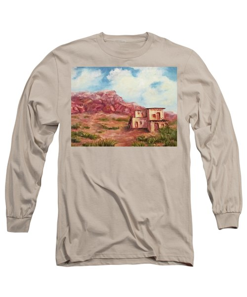 Long Sleeve T-Shirt featuring the painting Desert Pueblo by Roseann Gilmore