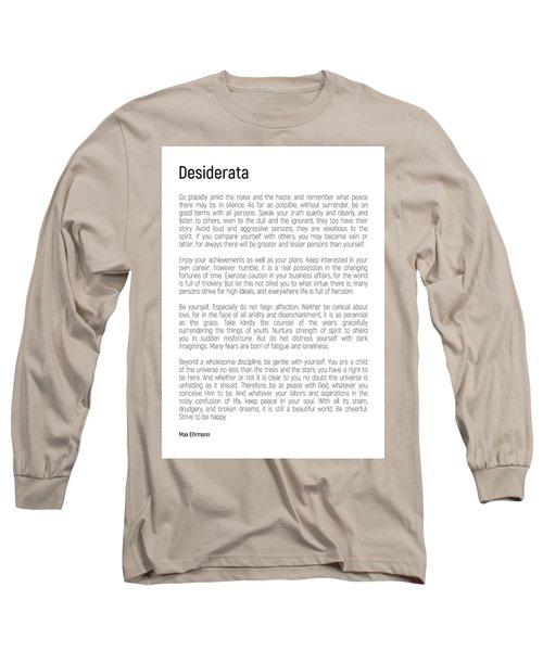 Desiderata #minimalism Long Sleeve T-Shirt