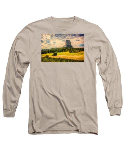 Devil's Tower - The Other Side Long Sleeve T-Shirt by Rikk Flohr
