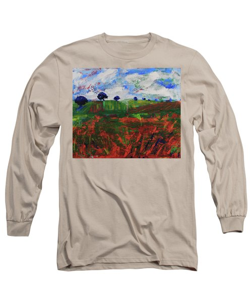 Long Sleeve T-Shirt featuring the painting Distant Vineyards by Walter Fahmy