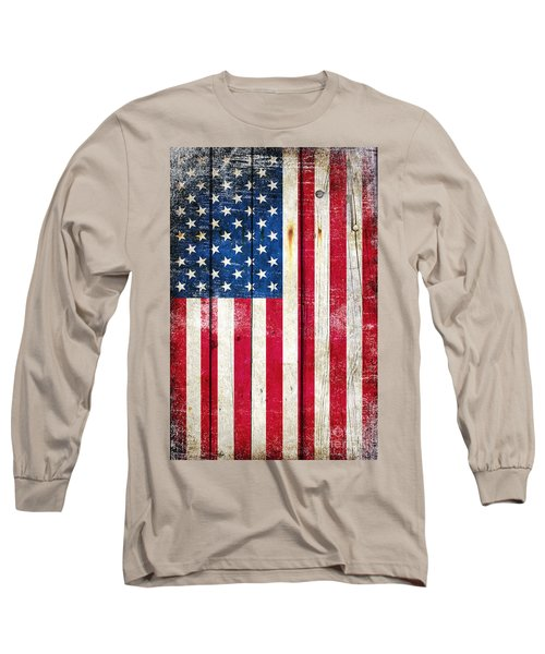 Distressed American Flag On Wood - Vertical Long Sleeve T-Shirt by M L C