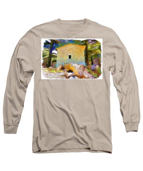 Do-00435 Building Surrounded By Cedars Long Sleeve T-Shirt by Digital Oil