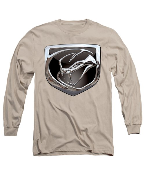 Dodge Viper 3 D  Badge Special Edition On Yellow Long Sleeve T-Shirt by Serge Averbukh