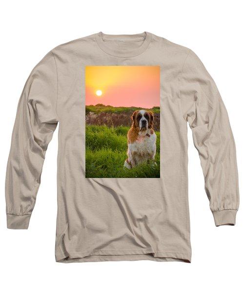 Dog And Sunset Long Sleeve T-Shirt