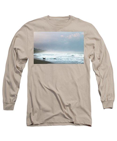 Dog On A Costa Rica Beach Long Sleeve T-Shirt