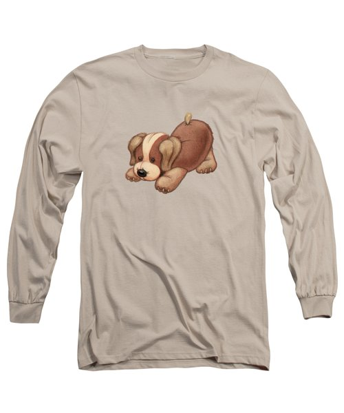 Dog Pounce Long Sleeve T-Shirt by Andy Catling