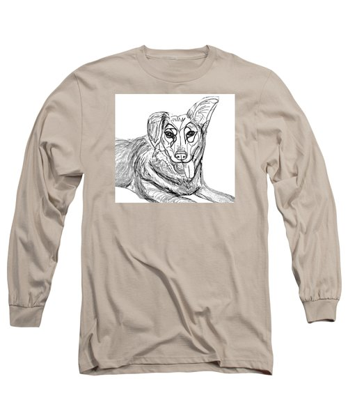 Long Sleeve T-Shirt featuring the drawing Dog Sketch In Charcoal 1 by Ania Milo