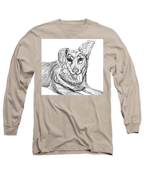 Dog Sketch In Charcoal 1 Long Sleeve T-Shirt