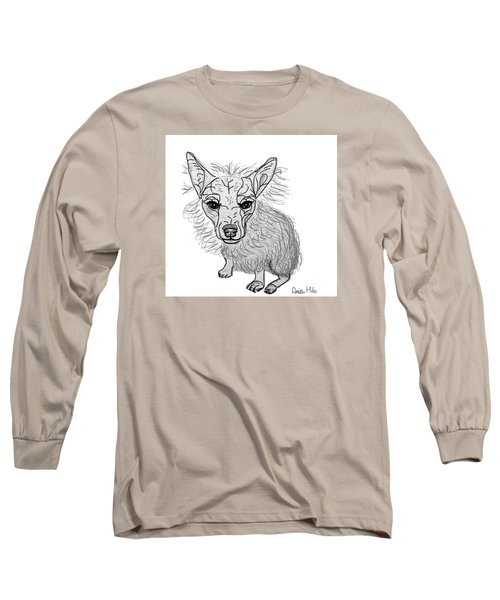 Long Sleeve T-Shirt featuring the drawing Dog Sketch In Charcoal 3 by Ania M Milo