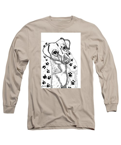 Long Sleeve T-Shirt featuring the drawing Dog Sketch In Charcoal 4 by Ania M Milo