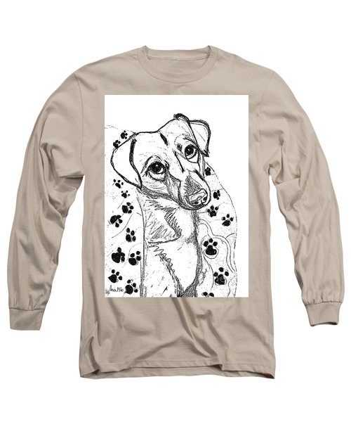 Dog Sketch In Charcoal 4 Long Sleeve T-Shirt