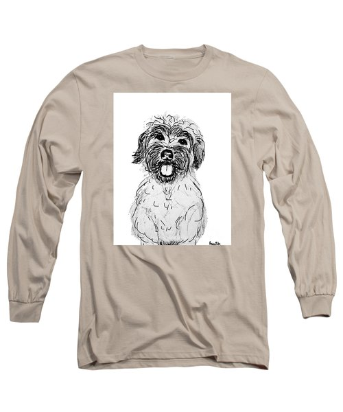 Long Sleeve T-Shirt featuring the drawing Dog Sketch In Charcoal 6 by Ania M Milo