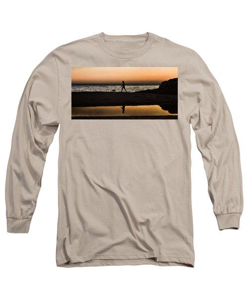 Dog Walker At Sunset Long Sleeve T-Shirt