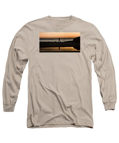 Dog Walker At Sunset Long Sleeve T-Shirt