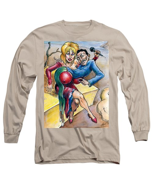 Long Sleeve T-Shirt featuring the drawing Dolly Meets Dali by John Ashton Golden