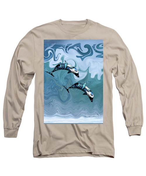 Dolphins Playing In The Waves Long Sleeve T-Shirt
