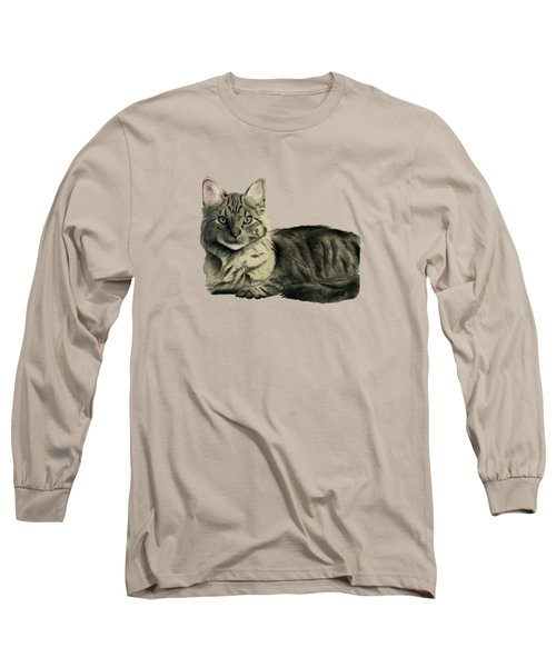 Domestic Medium Hair Cat Watercolor Painting Long Sleeve T-Shirt