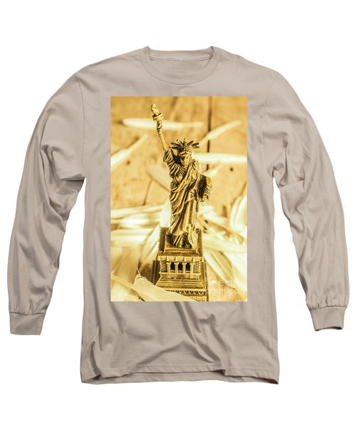 Dove Feathers And American Landmarks Long Sleeve T-Shirt