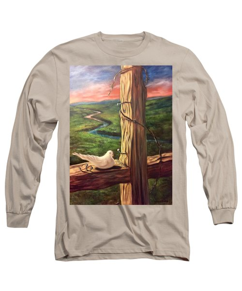 Long Sleeve T-Shirt featuring the painting Dove On A Cross  Paloma  En Una Druz by Randol Burns