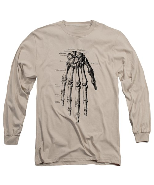 Down Facing Hand Skeletal Diagram - Anatomy Print Long Sleeve T-Shirt