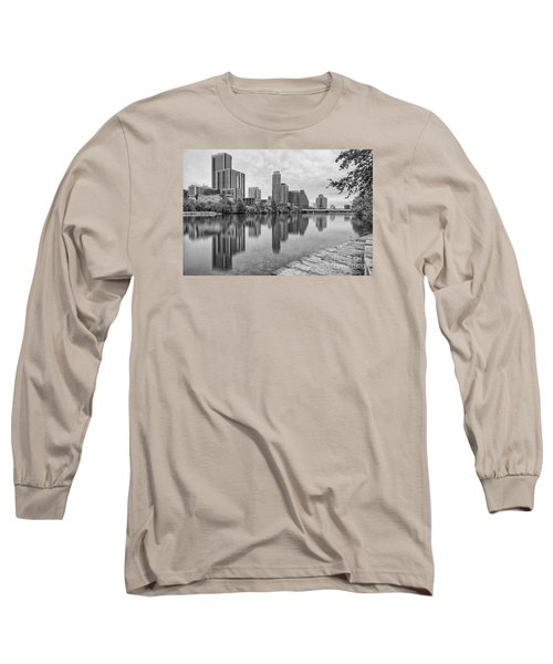 Downtown Austin In Black And White Across Lady Bird Lake - Colorado River Texas Hill Country Long Sleeve T-Shirt by Silvio Ligutti