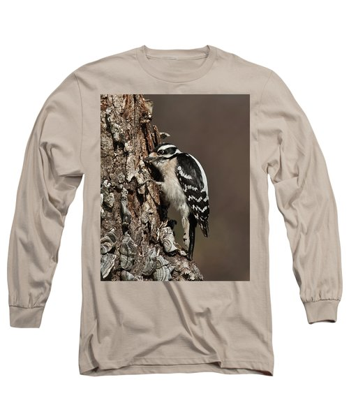 Downy Woodpecker's Secret Stash Long Sleeve T-Shirt