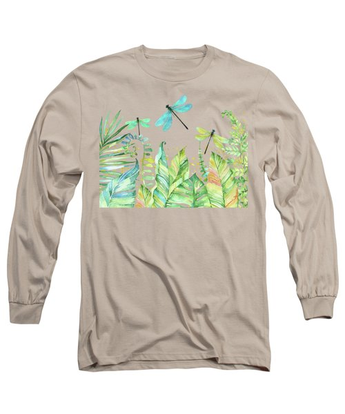 Dragonfly Garden Tropical Jungle Plants Dragonflies Long Sleeve T-Shirt