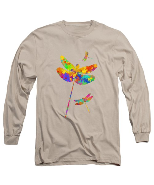 Dragonfly Watercolor Art Long Sleeve T-Shirt
