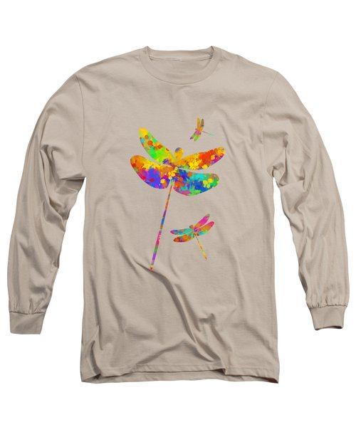 Dragonfly Watercolor Art Long Sleeve T-Shirt