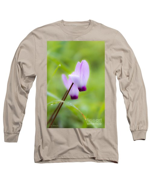 Long Sleeve T-Shirt featuring the photograph Dream On Purple Dew Drops by Arik Baltinester