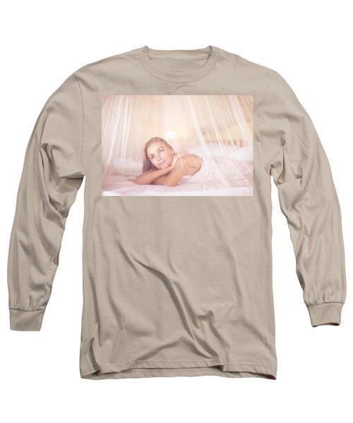 Dreamy Woman In Bedroom Long Sleeve T-Shirt
