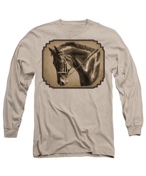 Dressage Horse Sepia Phone Case Long Sleeve T-Shirt