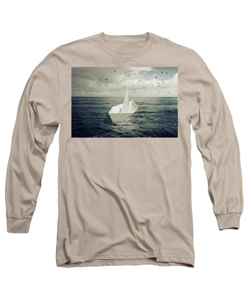 Long Sleeve T-Shirt featuring the photograph Drifting Paper Boat by Carlos Caetano
