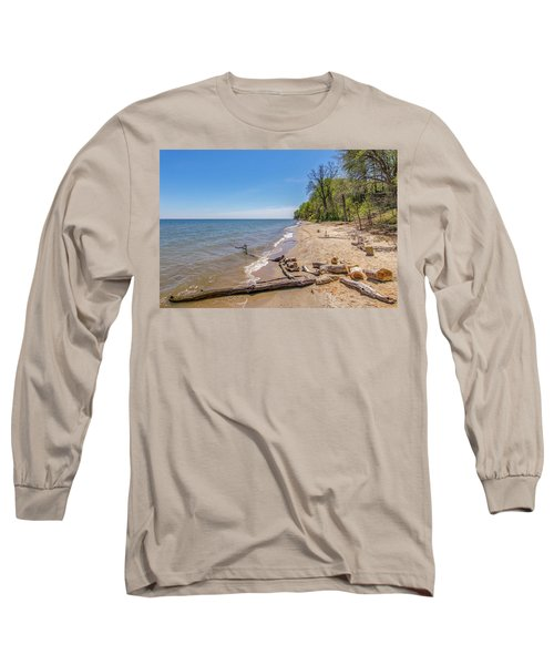 Long Sleeve T-Shirt featuring the photograph Driftwood On The Beach by Charles Kraus