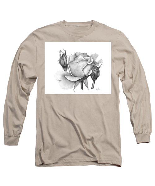 Long Sleeve T-Shirt featuring the drawing Drum Rose by Patricia Hiltz