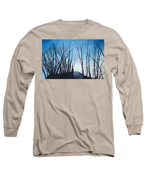 Long Sleeve T-Shirt featuring the painting Durfee Street Chapel by Jane Autry