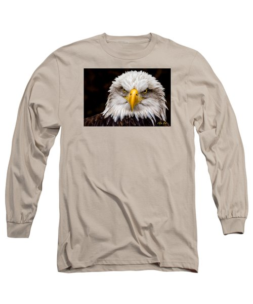 Defiant And Resolute - Bald Eagle Long Sleeve T-Shirt by Rikk Flohr
