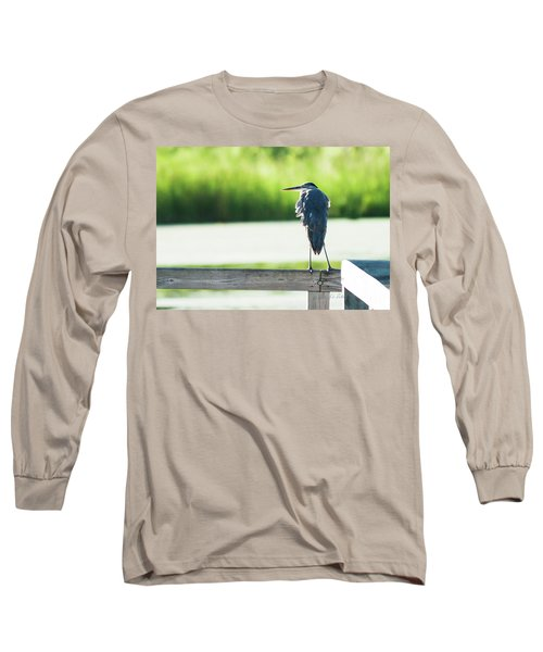 Early Morning Great Blue Heron Long Sleeve T-Shirt by Edward Peterson