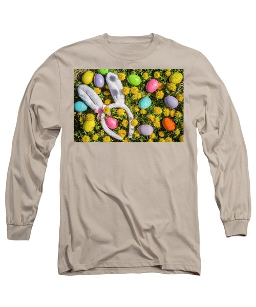 Long Sleeve T-Shirt featuring the photograph Easter Eggs And Bunny Ears by Teri Virbickis