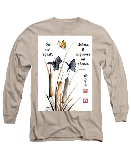 Echo Of Silence With Zen Proverb Long Sleeve T-Shirt