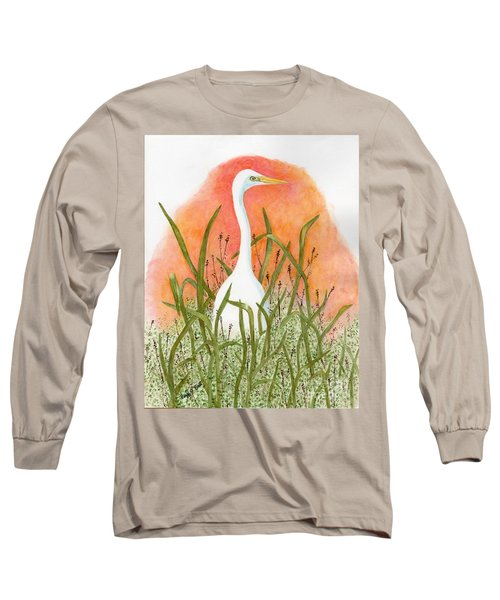 Long Sleeve T-Shirt featuring the painting Egret Color In Sunset by Peggy A Borel