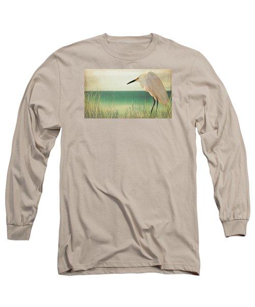 Egret In Morning Light Long Sleeve T-Shirt by Christina Lihani