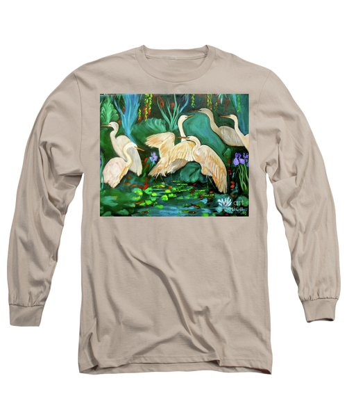 Egrets On Lotus Pond Long Sleeve T-Shirt by Jenny Lee