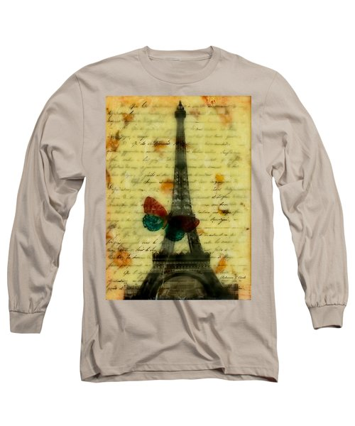 Long Sleeve T-Shirt featuring the painting Eiffel Tower Memory Encaustic by Bellesouth Studio