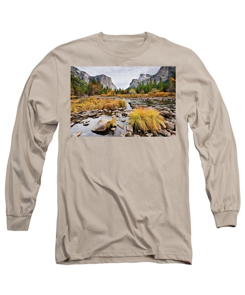 El Capitan And The Merced River In The Fall Long Sleeve T-Shirt