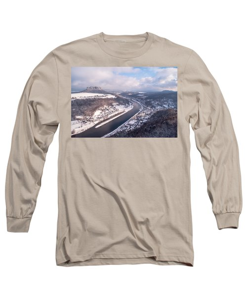 Long Sleeve T-Shirt featuring the photograph Elbe Valley With Mountain Pfaffenstein by Jenny Rainbow